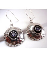 Faceted Iolite Hammered Earrings 925 Sterling Silver Dangle Drop Round New - $20.74