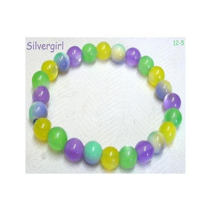 Green purple yellow jelly look acrylic fiber optic beaded stretch bracelet  2