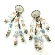CHIPITA Dangle Earrings Crystals Antique Glass Silver Pl Beads MOP leather back - $121.54