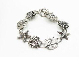 925 Sterling Silver - Vintage Sea Shell Starfish Charmed Chain Bracelet - B6149 image 3