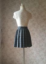 Mini GRAY Plaid Pleated Skirt College Style Pleated Plaid Skirt Plus US0-US18 image 5