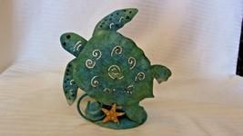 Aqua Blue Metal Sea Turtle Votive Candle Holder With Starfish - $18.56
