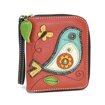 Chala Zip Around Wallet, Wristlet, 8 Credit Card Slots, Sturdy Pu Leather - Bird