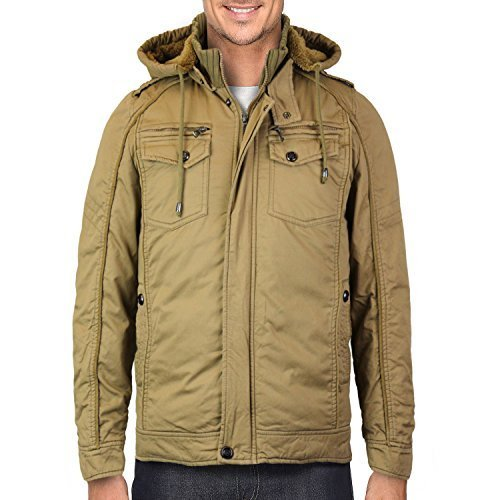 Maximos Men's Hooded Multi Pocket Sherpa Lined Sahara Bomber Jacket (Small, Khak