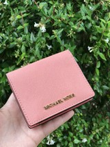 NWT Michael Kors JET SET TRAVEL CARRYALL Card Case Wallet In Peach - $55.43