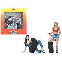 Val and Andie Tire Brigade 2 piece Figurine Set 1/18 by Motorhead Miniat... - $34.40