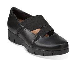 New Clarks Artisan Women Daelyn Villa Leather Flat Shoes Black Size 8M - $87.11