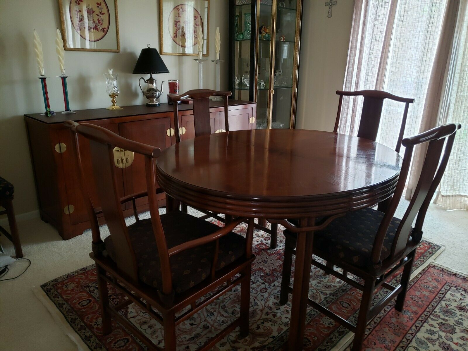 Baker Mid Century Hollywood Chinoiserie Walnut  Dining Room Table + 6 Chairs