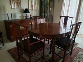 Baker Mid Century Hollywood Chinoiserie Walnut  Dining Room Table + 6 Chairs image 1