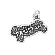 Sterling Silver Map of Pakistan Travel Charm - $14.30