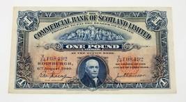 1940 Comercial Banco de Escocia Limitado una Libra Nota XF Estado P# 331b - $158.66