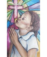Our Father - African American Girl Mixed Media Art Oil Painting - Frank ... - $350.61