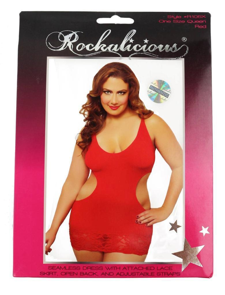 NEW ROCKALICIOUS WOMEN'S STRETCH MINI SEXY LINGERIE DRESS PLUS SIZE RED #R105X