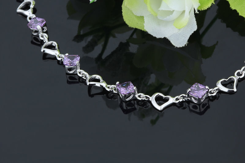 925 Sterling Silver Bracelet with Top Quality Zircon DL2 image 2