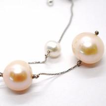 Collar Oro Blanco 18K, con Colgante,Perlas Grandes,Blancas y Rosa, 16 MM image 2