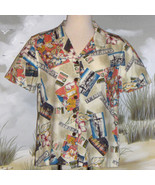 CARIBBEAN JOE Tropical Hawaiian Print Shirt Tan Coral Ladies Size Medium - $18.76