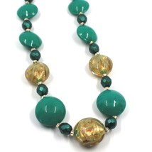 """NECKLACE GREEN YELLOW MURANO GLASS DISC & GOLD LEAF, MADE IN ITALY, 50cm, 20"""" image 2"""