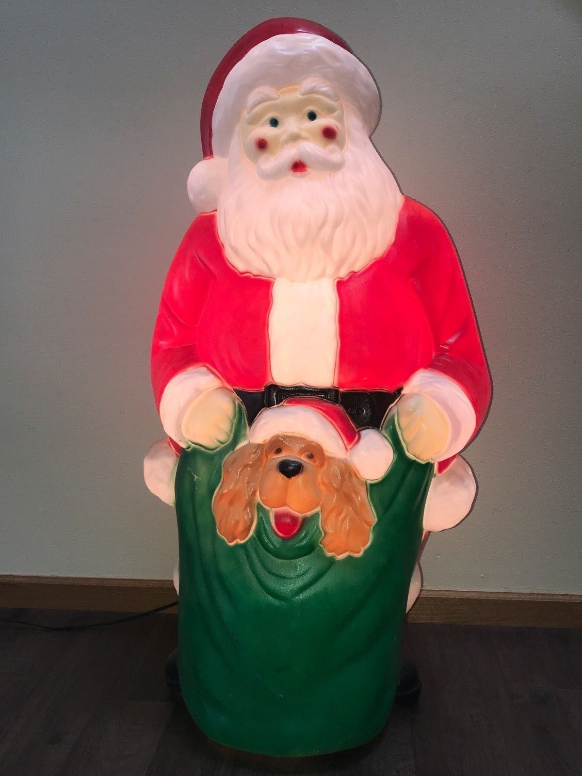"32/"" Dapol Santa Claus Holding Green Sack Plastic Lighted Blow Mold Vintage"