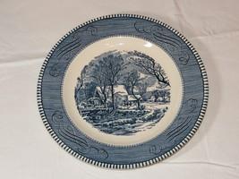 """Vntg Royal Currier & Ives Harvest Old Grist Mill Blue White 9 1/4"""" Dinne... - $19.05"""
