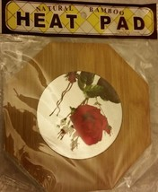 "1 RARE Natural Bamboo Heat Pad, Kitchen Decor, 3D FLOWERS, approx.7"" x 7"" - $7.91"