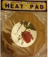 """1 RARE Natural Bamboo Heat Pad, Kitchen Decor, 3D FLOWERS, approx.7"""" x 7"""" - $7.91"""