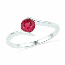 Sterling Silver Womens Round Lab-Created Ruby Solitaire Ring 3/4 Cttw - £26.76 GBP