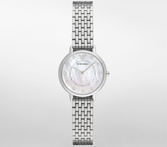 Emporio Armani AR2511 Mother of Peal Dial Analog Quartz Silver Women's Watch - £105.84 GBP