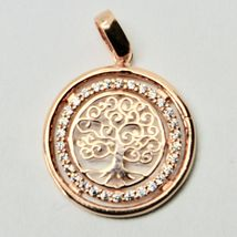 Pendant Tree of Life Gold 18K 750 Pink and Zircon Cubic Made in Italy image 6