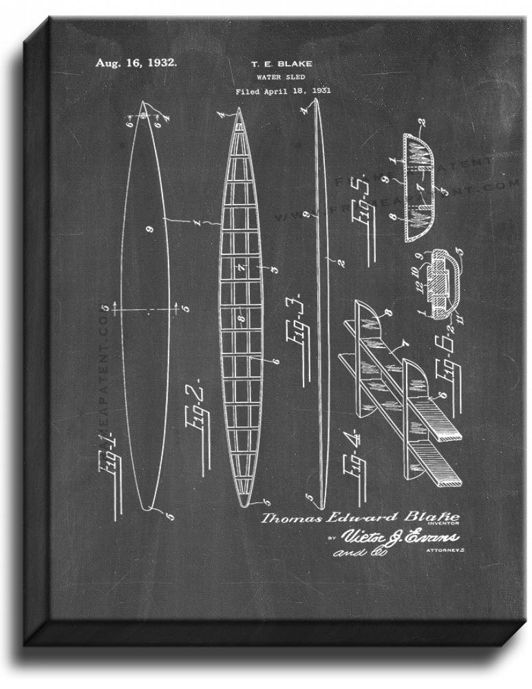 Primary image for Water Sled Patent Print Chalkboard on Canvas