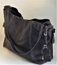 Liz Claiborne Black Shoulder Bag Large Tote Stitched Drawstring Handbag ... - $31.68