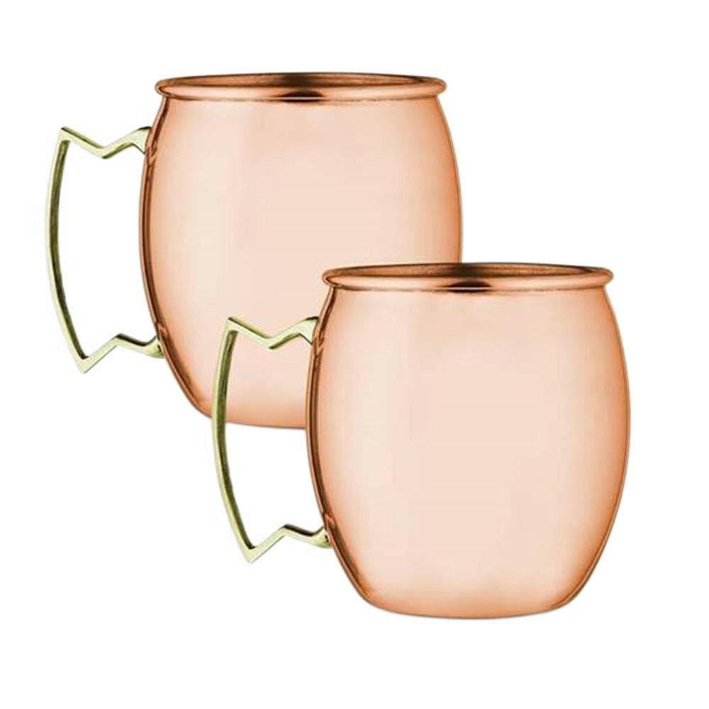 Primary image for SET OF 2 MODERN HOME 100% SOLID COPPER MOSCOW MULE MUG - 18oz -HANDMADE IN INDIA