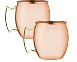 SET OF 2 MODERN HOME 100% SOLID COPPER MOSCOW MULE MUG - 18oz -HANDMADE IN INDIA
