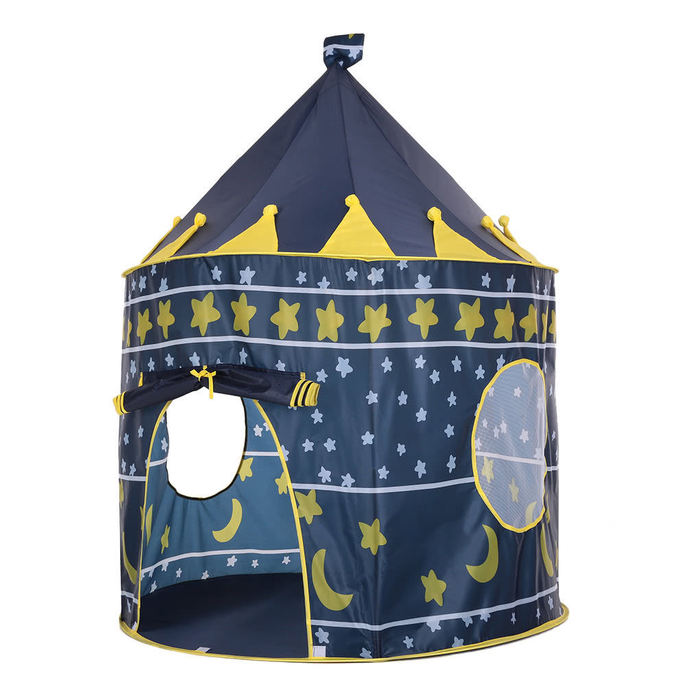 Portable Princess Castle Tent Play Kids Outdoor Indoor Foldable blue Playhouse