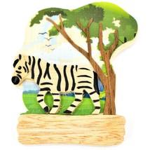 Northwoods Layered Wood Zebra Habitat Refrigerator Magnet