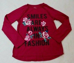 Faded Glory Girls Top Size 7 Pink Rose Smiles are Always In Fashion Shir... - $15.83