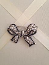 Vintage Silver Crystal Rhinestone Black Enamel Bow Fashion Brooch - $35.00