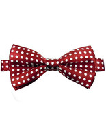 Mens Quality Burgundy and White Polka Dot Bow Tie Fancy Dress Minnie Mouse - $6.50