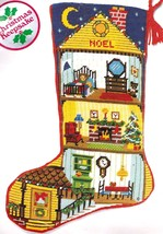 Vintage Sunset Christmas Dollhouse Holiday Noel Needlepoint Stocking Kit... - $162.95