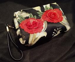 Clutch Bag/Wristlet/Makeup Bag - Red Rose Applique on Black & Gold Brocade image 5