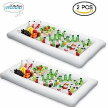 Inflatable Pool Table Serving Bar - 2 pack Large Buffet Tray Server With... - $44.55