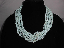 VTG Celluloid Light Blue Multi Strand Beaded Choker Necklace Made in Hong Kong - $49.50