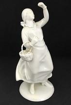Vintage Rare Augarten WIEN Austrian Lavender Seller White Porcelain Figu... - $474.21