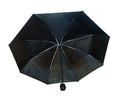 Black Compact Waterproof Polyester Umbrella with a 38 inch shade when ex... - $10.61