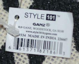 GANZ Brand ER39334 Style 101 Large Burlap Black Cream Purse Purple Handle image 6