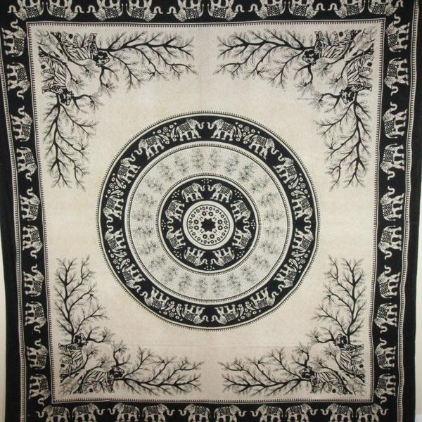 Black tigers   elephants majestic beasts tapestry