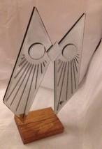 BIG Vintage JON GILMORE Art Glass OWL Mirror Sculpture Era Mid Century Signed image 2