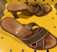 Coach Leather Shoes Sandals Heels Wm. Sz. 7B Camel Brwn Open Toe Slvr Lo... - $27.39