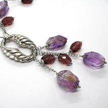 925 Silber Halskette, Fluorit Oval Facettiert Violet, Anhänger Weintrauben image 4