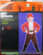 Lil Pirate Jumpsuit Boys Halloween Costume Todder Size 4-6 Outfit Totally Ghoul - $10.88