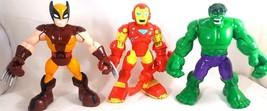 Playskool Marvel Super Hero The Hulk Ironman Wolverine Action Figure Lot... - $14.84